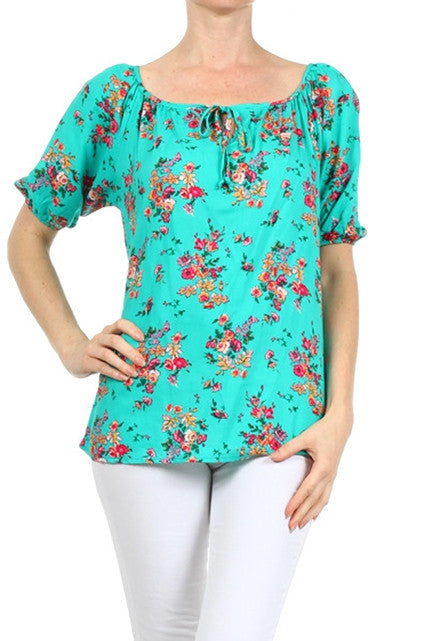 Turquoise Floral Top