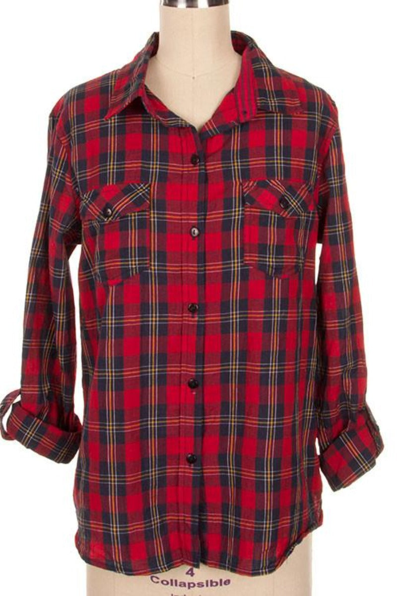 Red Multi Plaid Print Roll-up Sleeve Button Down Shirt