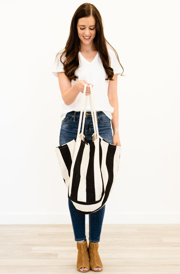 parker striped canvas tote