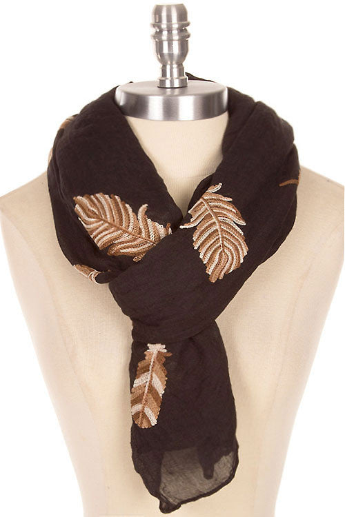 Beautiful Leaf Stitched Scarf- 4 Colors