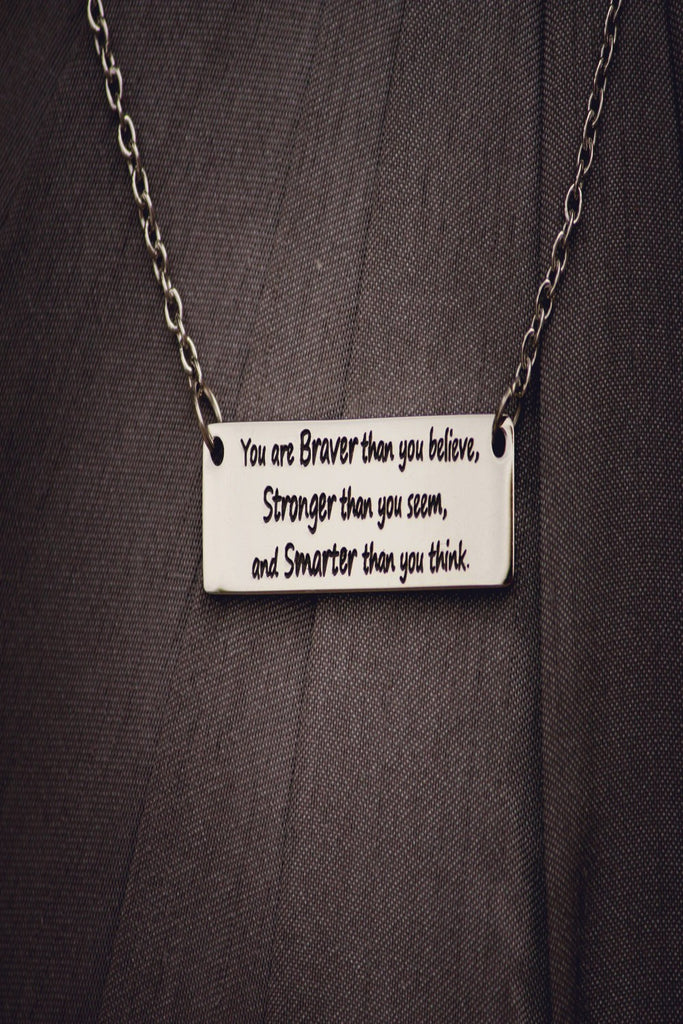 Inspirational Stamped Steel Necklace