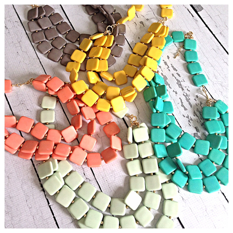 Brenna Square Bead Triple Layer Necklace- 5 colors!