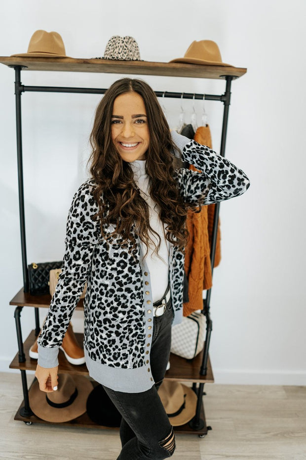 leopard evie cardigan | extended sizes