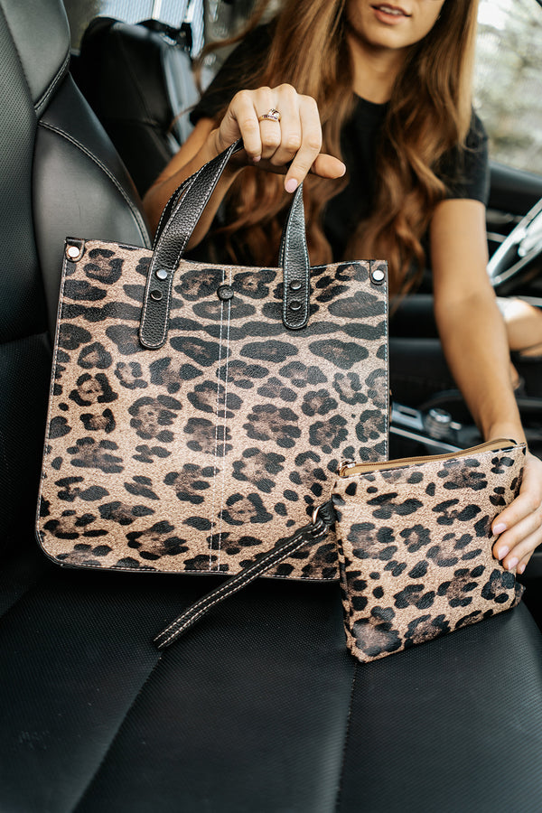 livy leopard shoulder bag and clutch