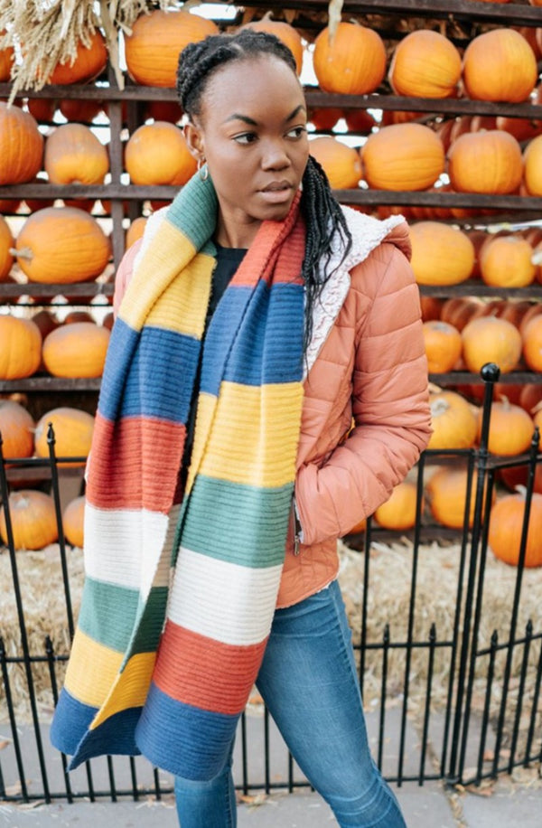 leah striped blanket scarf