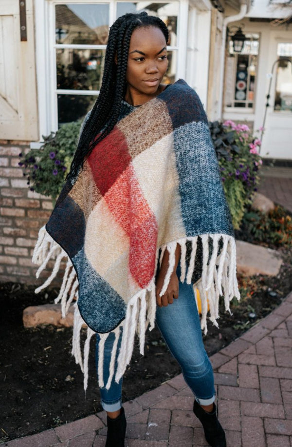 jora color block poncho