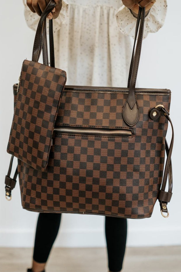 sawyer checkered tote + clutch