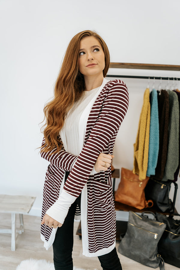 stella striped cardigan