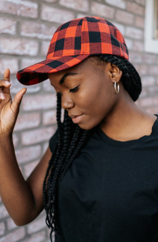 alder buffalo plaid baseball cap
