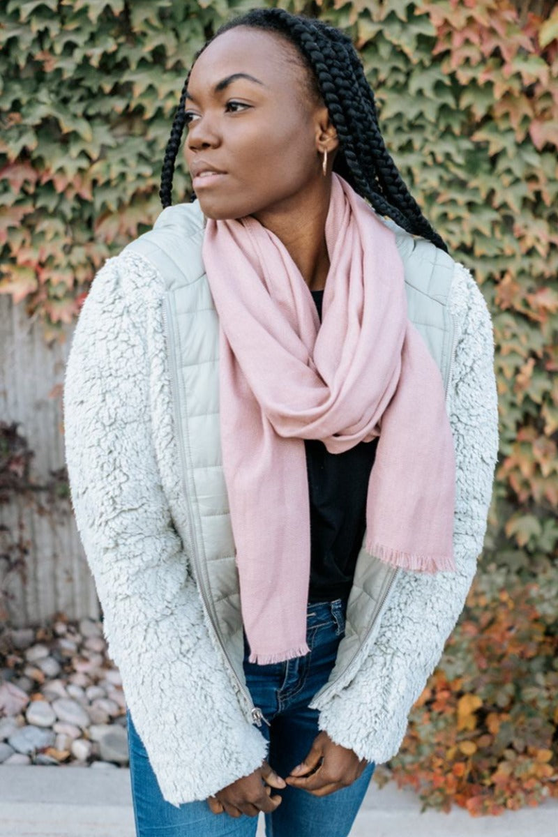 rory soft woven frayed edge scarf
