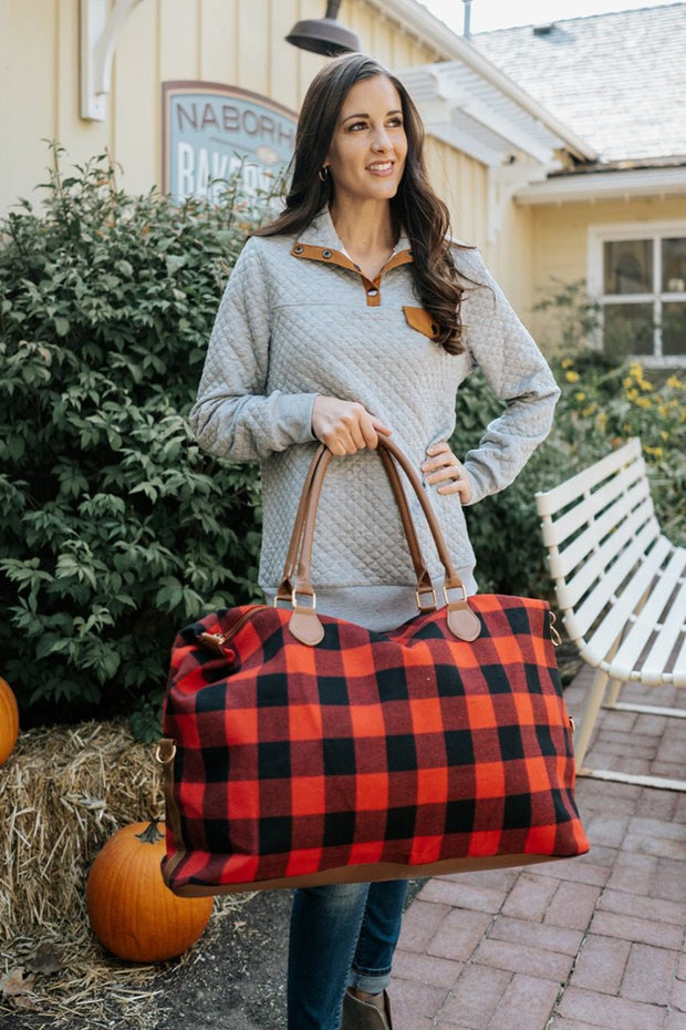 winnie buffalo plaid weekender bag