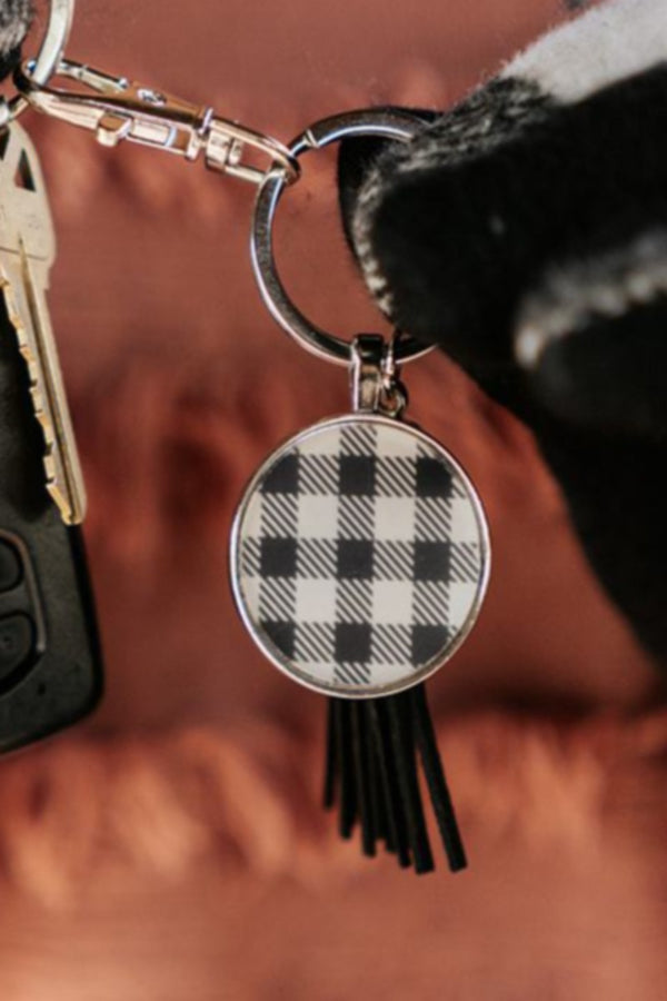 sequoia buffalo plaid disc keychain
