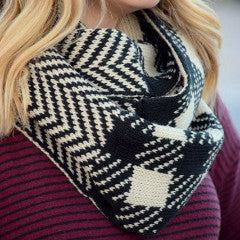 Check and Chevron Pattern Reversible Infinity Scarf