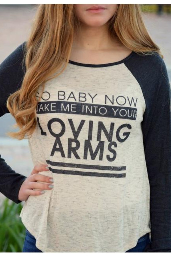 Loving Arms Print Baseball Top