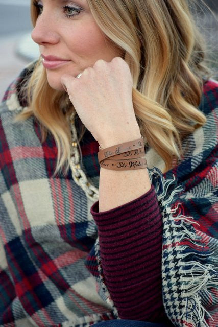 Inspirational Leather Wrap Bracelet
