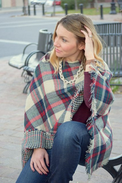 Tartan and Houndstooth Double Sided Pattern Poncho
