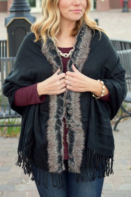 Faux Fur Detail Shawl in Black and Chocolate