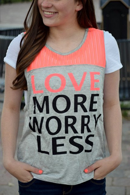 Love More Worry Less Stripe Tank Top