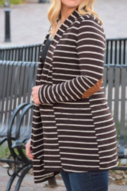 Brown and White Cardigan with Elbow Patch