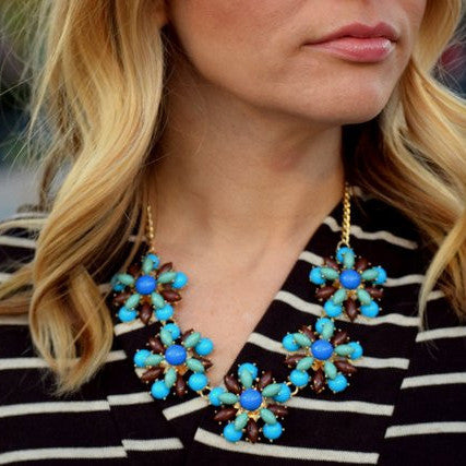Blue Fancy Flowers Necklace