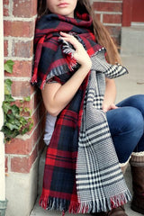 Houndstooth and Plaid Double Sided Blanket Scarf