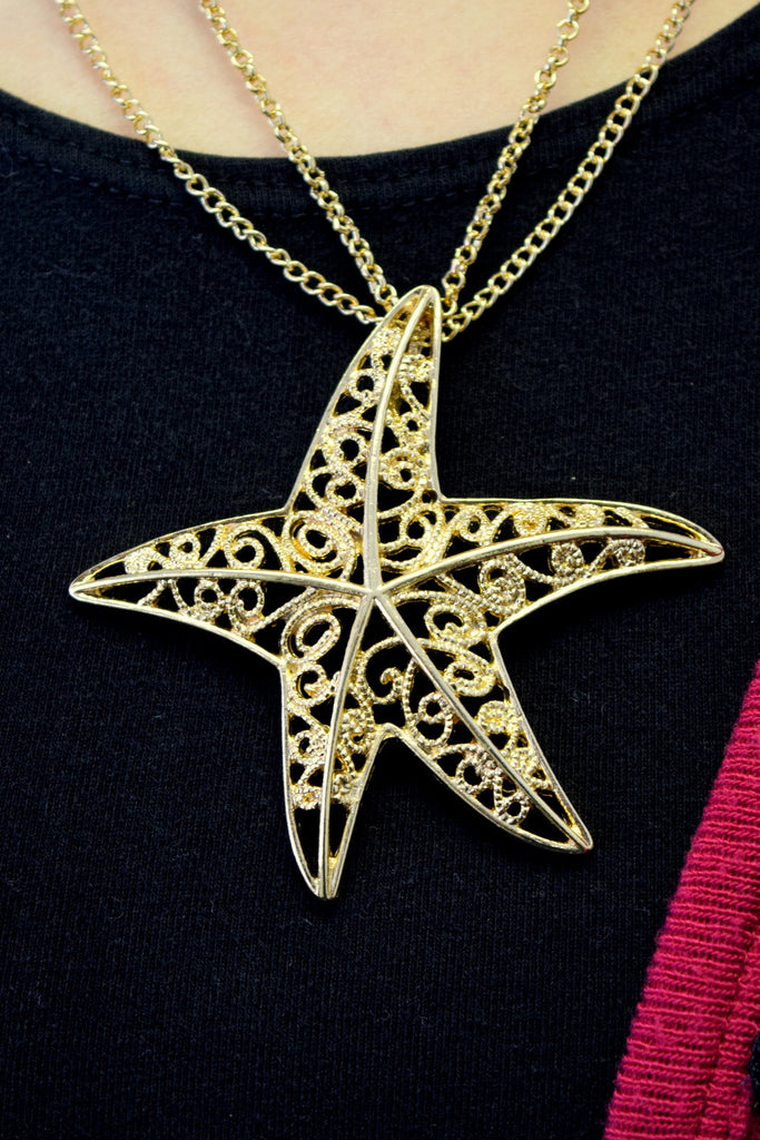 Gold Filigree Starfish Necklace Set