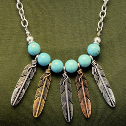 Tribal Stone Accent Feather Necklace and Earring Set