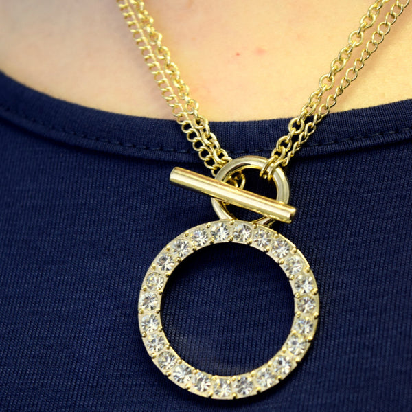 Pave Ring Double-Layered Chain Necklace and Earring Set