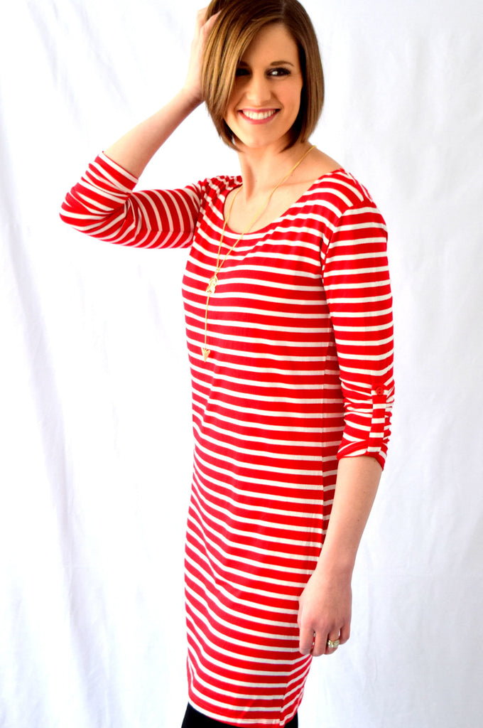 Striped 3/4 tab Sleeve Dress | 5 colors