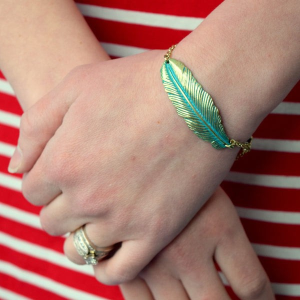 Antiqued Feather Chain Bracelet (Green)