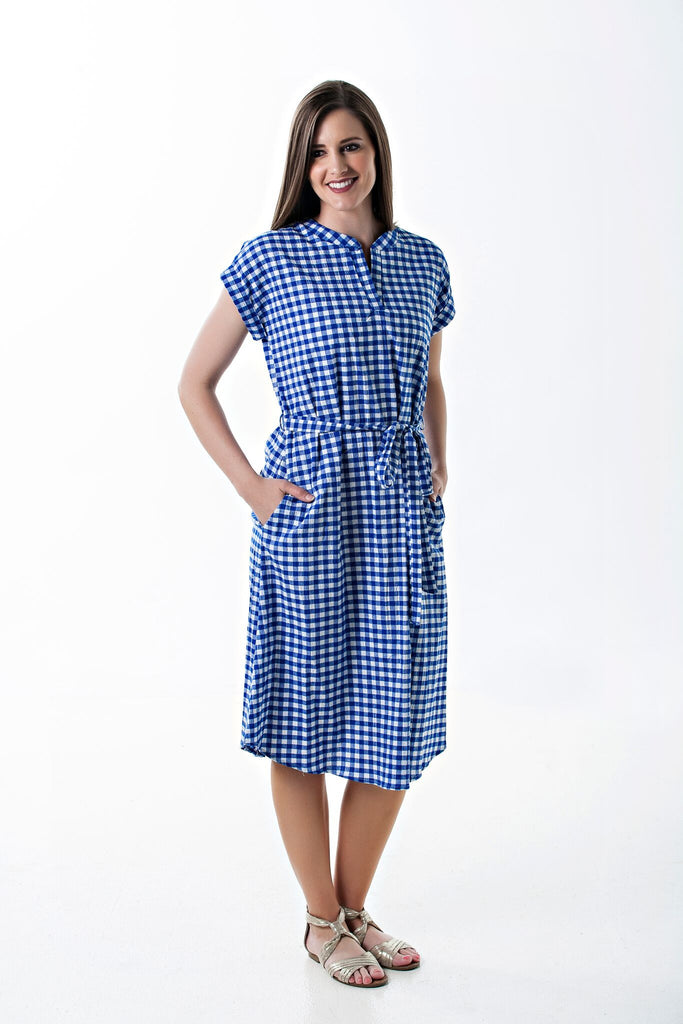 Short Sleeve Bailey Dress in Blue and White Check