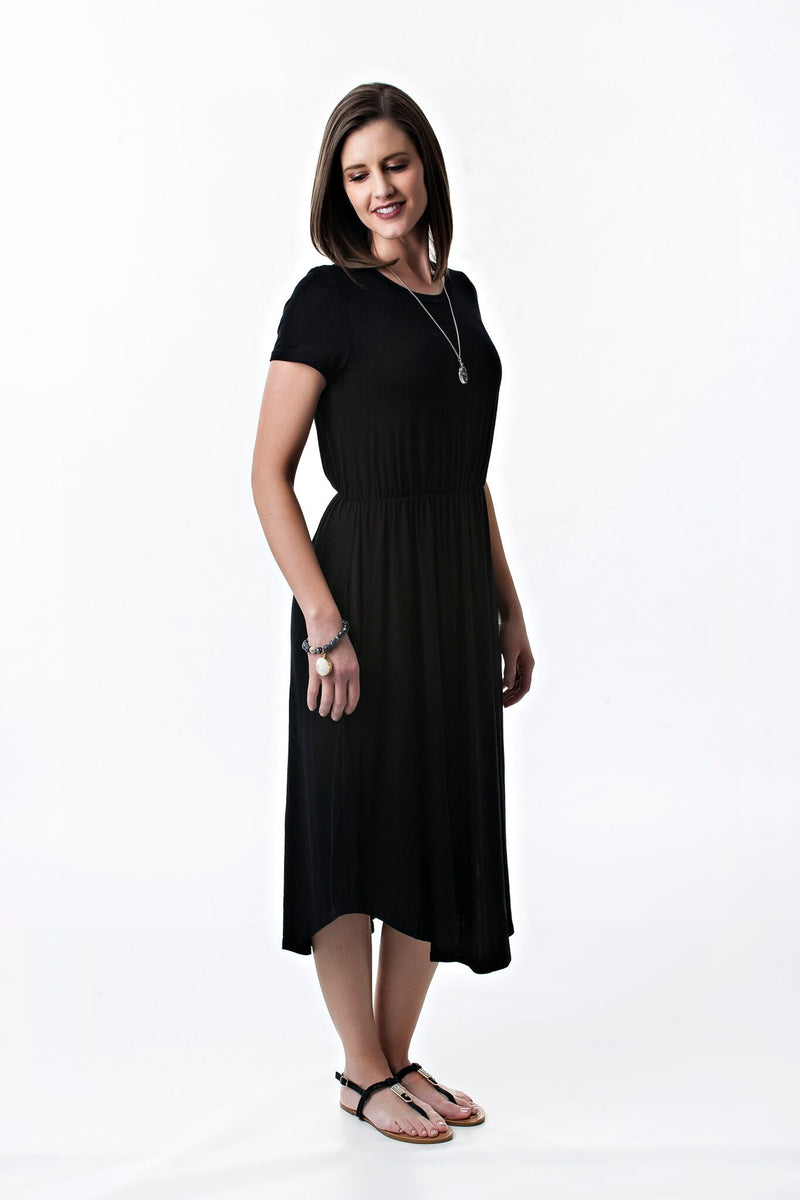 Short Sleeve Midi Solid Color Dress | 5 colors