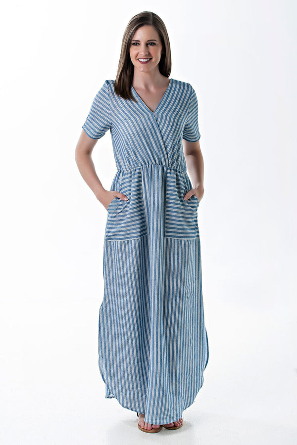 Audrey Striped V-neck dress