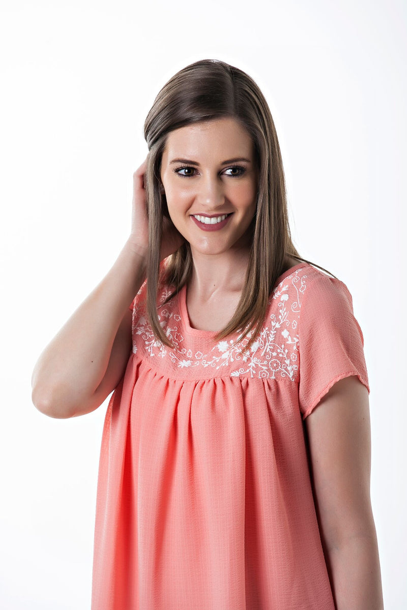 Short Sleeve Flowy Harper Dress in Coral