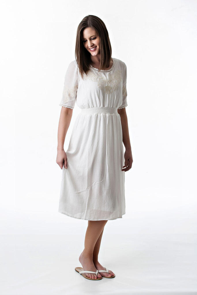 Kirsten Embroidered Dress in Natural