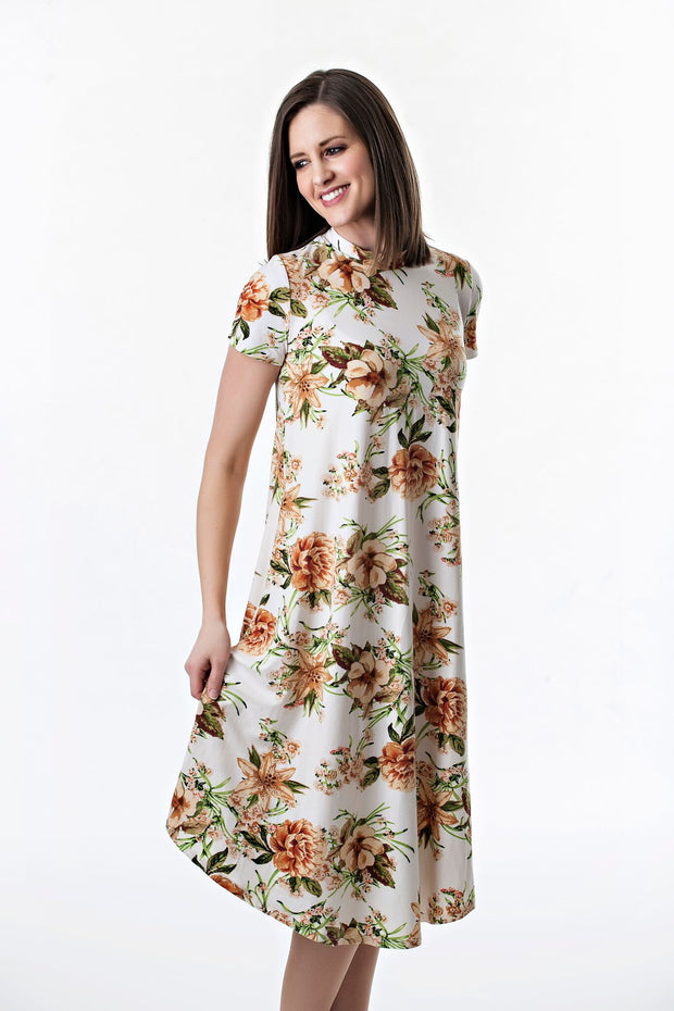 Short Sleeve Floral Swing Dress with Mock Neck | 4 colors