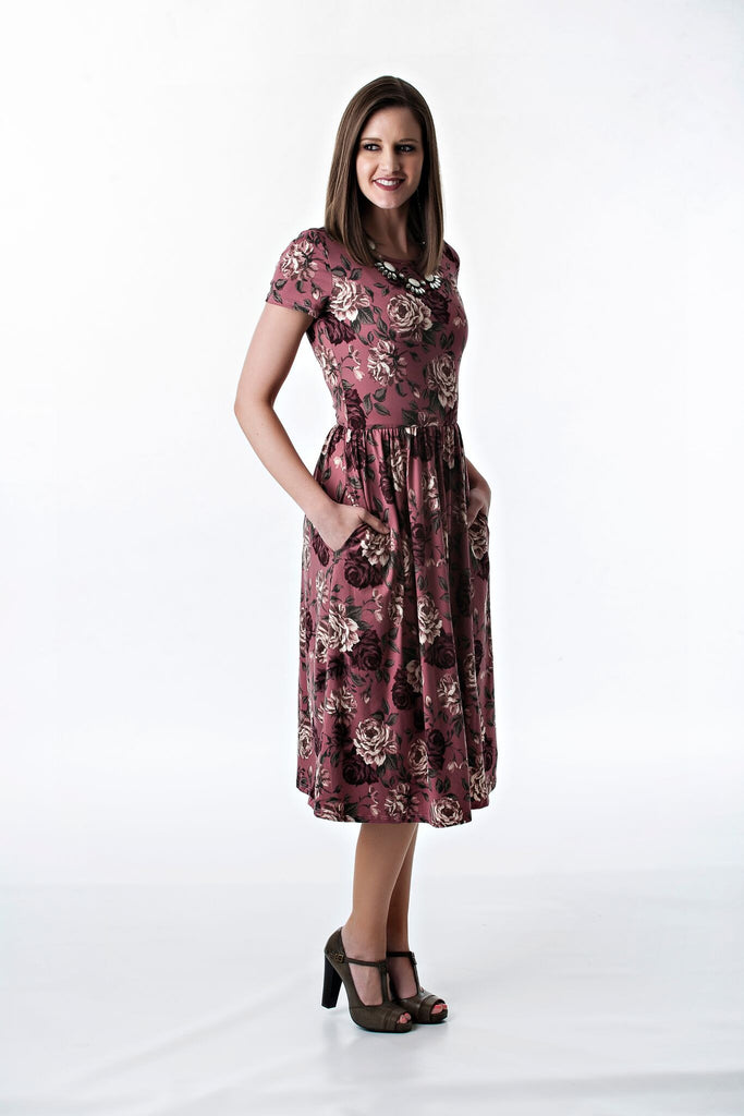 Mauve Floral Cinched Waist Midi Dress