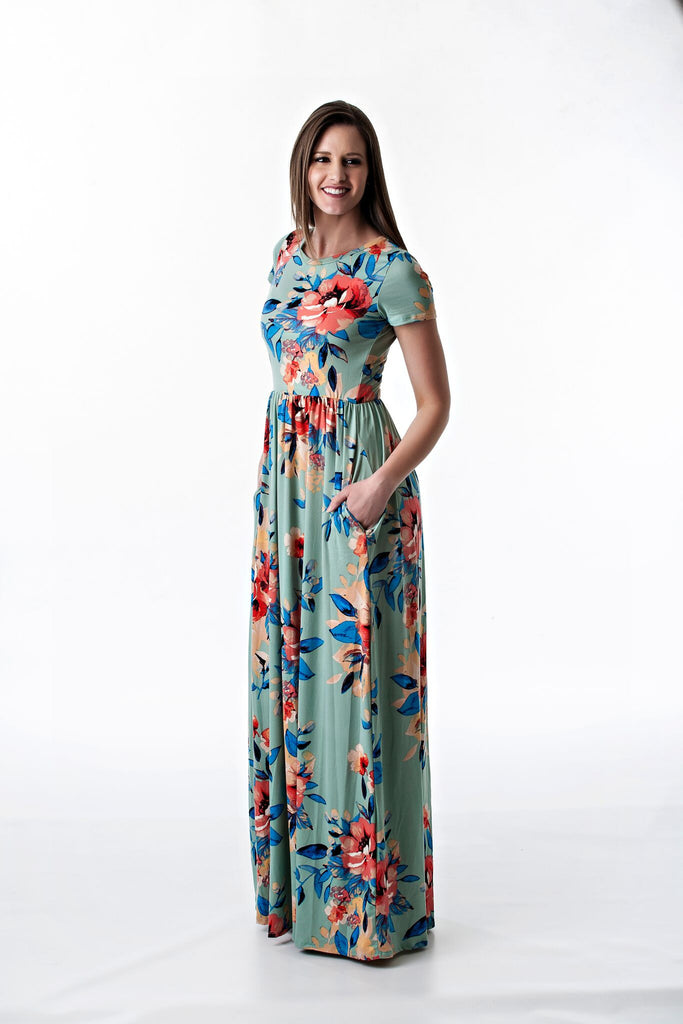 Short Sleeve Cinched Waist Maxi | 2 colors