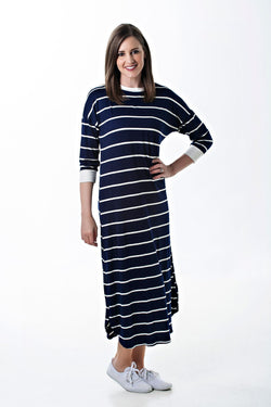 3/4 Dolman Sleeve Navy and White Hadley Dress