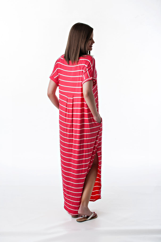 Coral Striped Casual Maxi