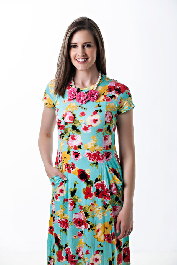 Bella Dress in Turquoise and Bright Florals
