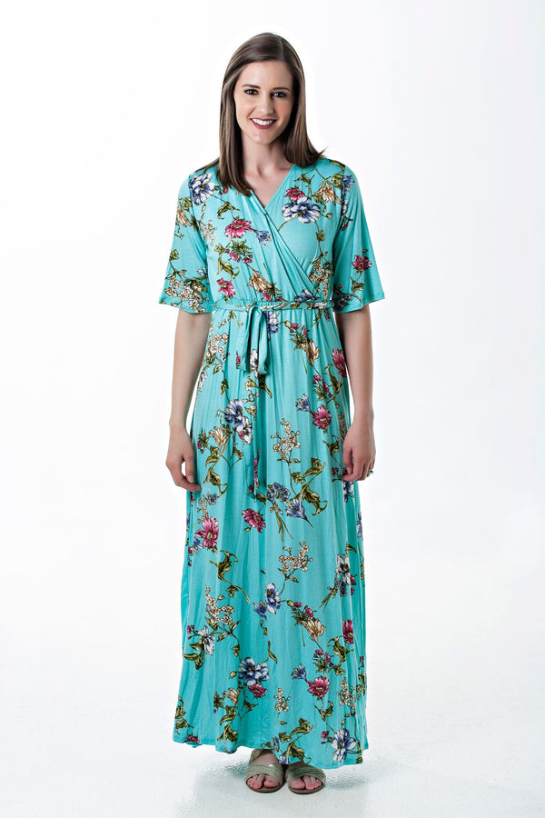 Half Sleeve Turquoise Floral Wrap Dress