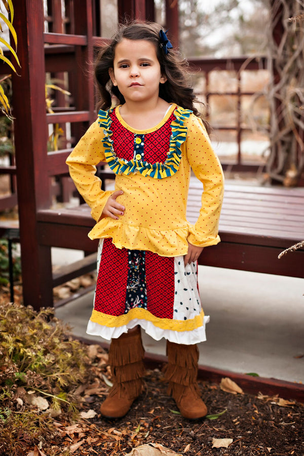 Yellow and Red Dots Ruffle Dress