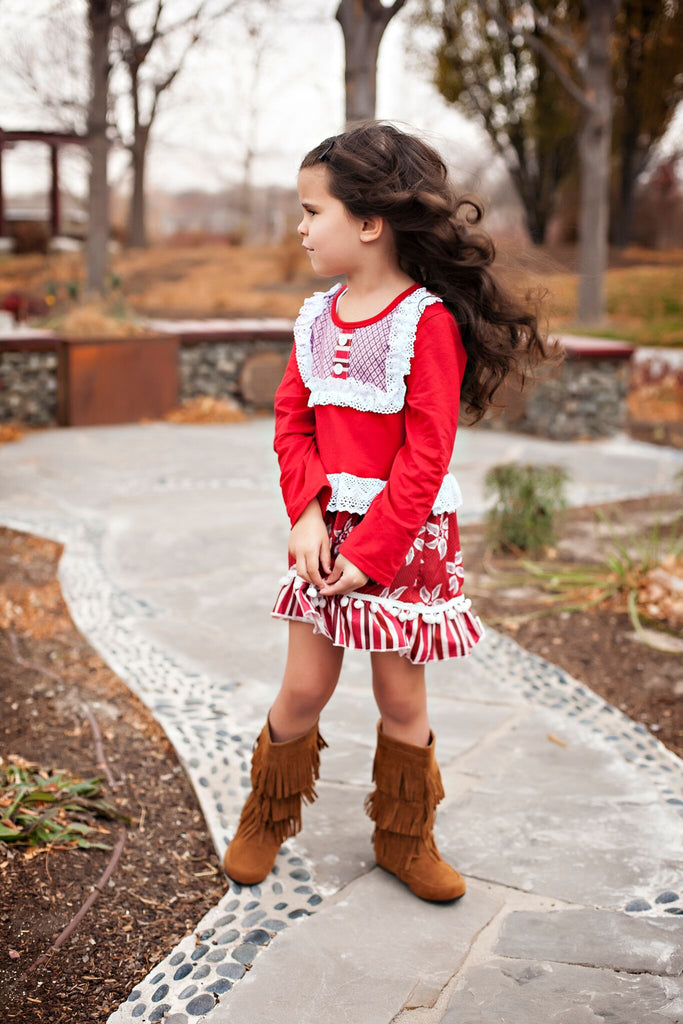 Red and White Dress with Pom poms