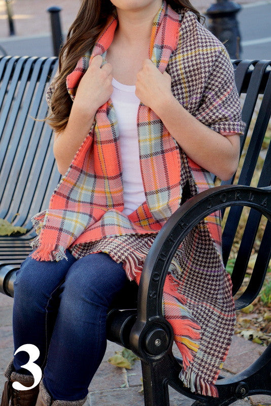 Double Sided Plaid and Houndstooth Scarf