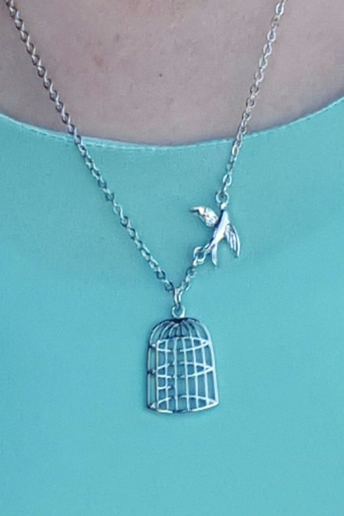 Be Free, Fly Free Bird and Cage Necklace