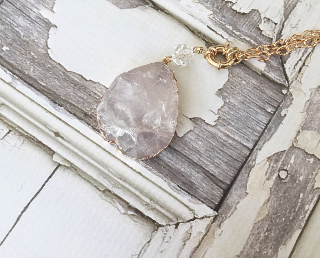 Iced Natural Stone Druzy Pendant