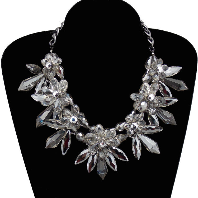 Finley Smoked Iced and Flowers Statement Necklace