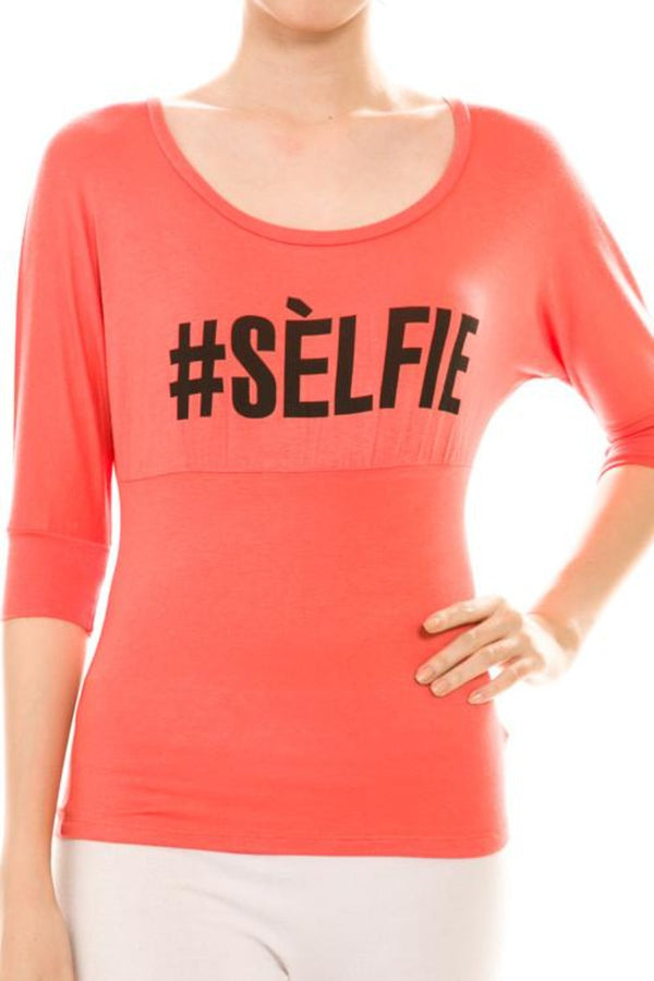 # Selfie Print Scoop Neck Top