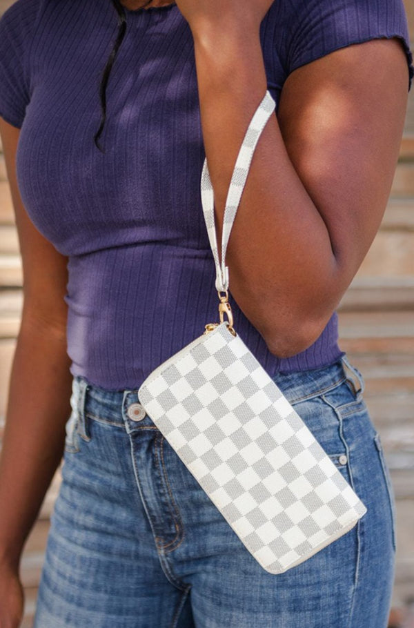 celine checkered wallet + wristlet